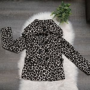 Forever 21 leopard print pea coat size small
